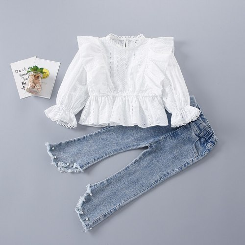 2-7 Years High Quality Spring Girl Clothing Set 2021 New Fashion  Floral Solid Shirt + Pearl Jeans Kid Children Girls Clothing