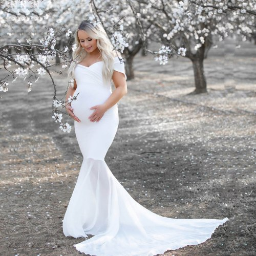 Women Pregnants Chiffon Splicing Photography Props Trapless Long Maternity Dress Sexy Maternity Dresses For Photo Shoot