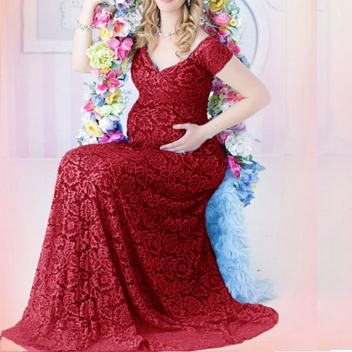 Maternity Lace Dresses Photo Shoot Pregnant Women Sexy V Neck Maxi Gown Dress Pregnancy Baby Shower Photography Props Clothes
