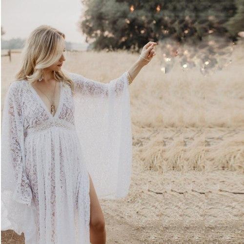 Boho Maternity Lace Long Dresses For Photo Shoot V-neck Bohemian Maternity Photography Prop Dresses
