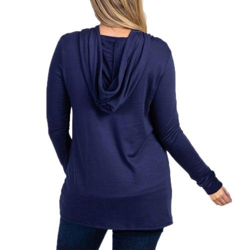 Maternity Wear Hoodies Long Sleeve Hooded Sports Sweatshirt Comfortable Irregular Loose Solid Color Spring Autumn
