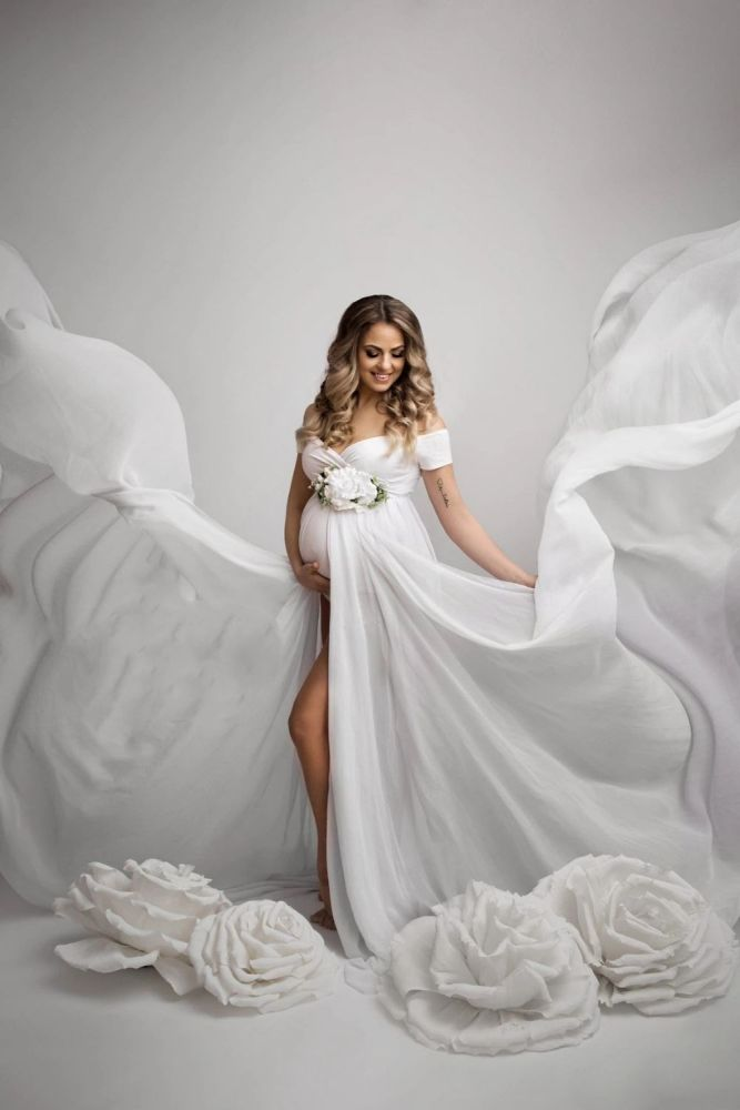 Sexy Maternity Dresses For Photo Shoot Chiffon Pregnancy Dress Photography Prop Maxi Gown Dresses For Pregnant Women Clothes