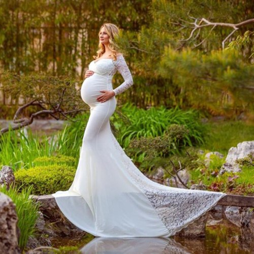 Sexy Lace Maternity Dresses For Baby Showers Photo Shoot Long Sleeve Gown Dresses Elegence Pregnant Dress Women Photography Prop