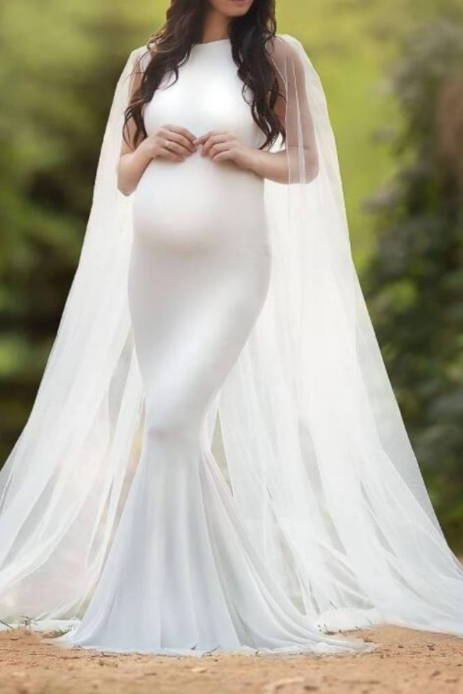 Elegant Maternity Dresses For Photo Shoot White Pregnancy Maxi Dress For Phototgraphy Baby Shower Stretchy Long Dress For Women