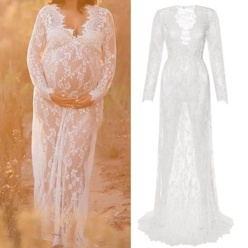 Sexy White Dresses For Maternity Summer 2021 Pregnant Women Lace Dresses For Photo Shoot Female Pregnancy Photographing Clothing