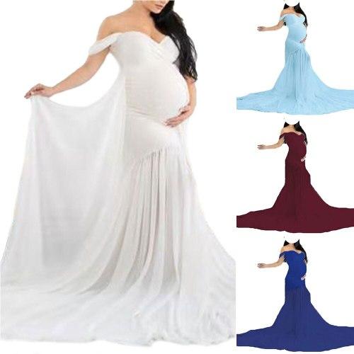 Long Maternity Photography Dresses Women Clothing V Neck Maternity Dresses for Photo Shoot Solid Pregnancy Dress Maternity