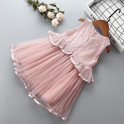 Girl princess lace dress Summer children clothing party dress for 2-7T kids Clothes girls lace birthday wedding tutu dress
