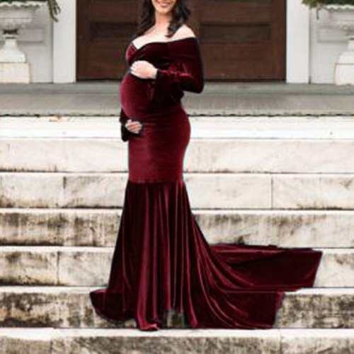Velour Maternity Dresses For Photo Shoot Pregnant Women Baby Shower Dress Mermaid Maxi Gown Pregnancy Dress Photography Props