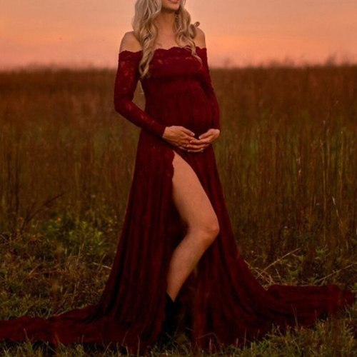 Long Sleeve Maternity Maxi Gown Dresses Baby Shower Photography Lace Pregnancy Gowns for Photo Shoot Pregnant Shoulderless Split