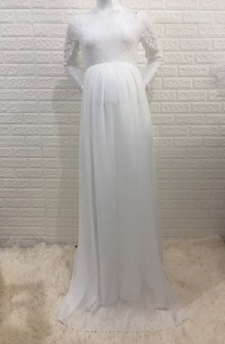 Boho Baby Shower Dress For Pregnant Women Clothes Maternity Lace Dress For Photography Props Pregnancy Photo Shoot Chiffon Robe