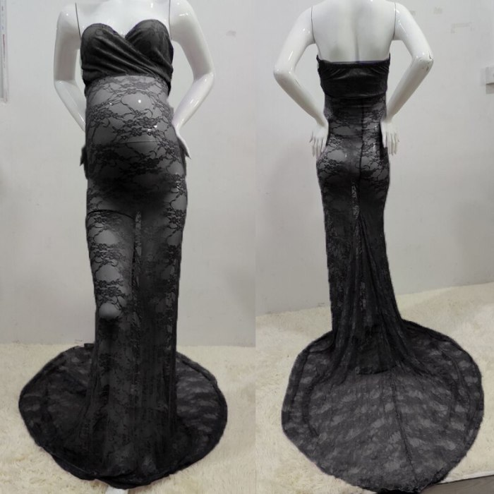 High Quality Lace Pregnancy Long Dress For Women Clothes Summer 2021 Sleeveless Sexy Black Maternity Gowns For Photo Shoot Dress