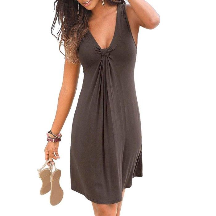 Women's Fashion Solid Color Deep V-Neck Sleeveless Neckline Knotted Beach Dress Sexy Simple Slim Vest Dress 2021 Mujer Vestido
