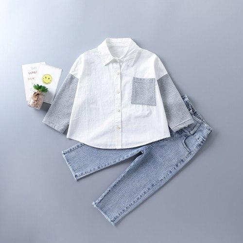 2-7 years high quality girl clothing set 2021 new autumn fashion black white plaid shirt + denim pant kid children clothing