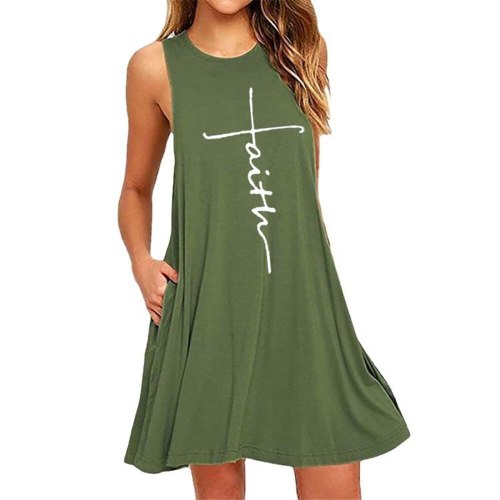 Dress Women Summer Casual O-neck Boho Robe Female Printed Mini Sleeveless Tank Dresses#t