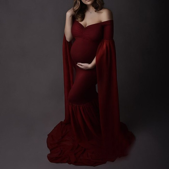Chiffon Maternity Dresses For Baby Showers Photo Shoot Long Sleeve Gown Dresses Elegence Pregnant Dress Women Photography Prop