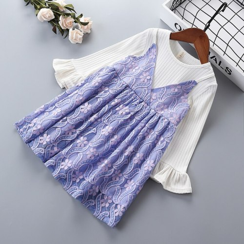 Girl lace dresses 2021 party dress for Princess splice girls gown Spring Autumn 2-7 years kids flower Clothes children clothing