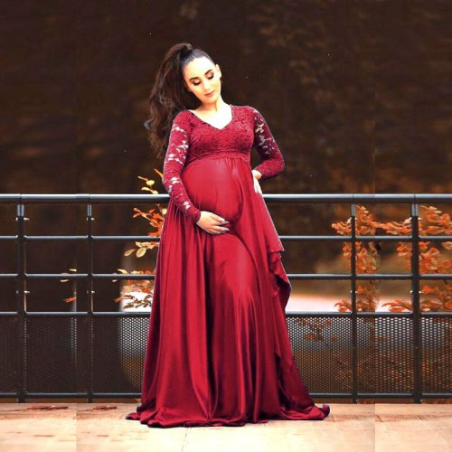 Lace Rayon Maternity Photography Props Long Dress Splicing Pregnancy Dresses Elegence Pregnant Women Maxi Gown For Photo Shoot