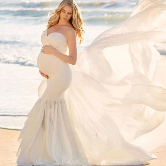 High-Quality Long Tail Patchwork Sexy Maternity Dresses For Photo Shoot Chiffon Pregnancy Dress Women Pregnant Photography Props