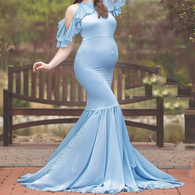 New Summer Maternity Dresses For Photo Shoot 2021 Pregnant Women Clothing Off Shoulder Ruffle Sleeve Pregnancy Dress Photography
