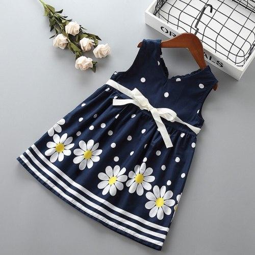 2-7 year High quality girl dress 2019 new summer casual flower dot kid children girl clothing party birthday princess dress