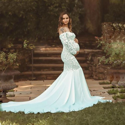 Sexy Clothes For Pregnant Women Lace Stitching Chiffon Maternity Dresses V-Neck Long Sleeve Dress Photography Photo Dress Woman
