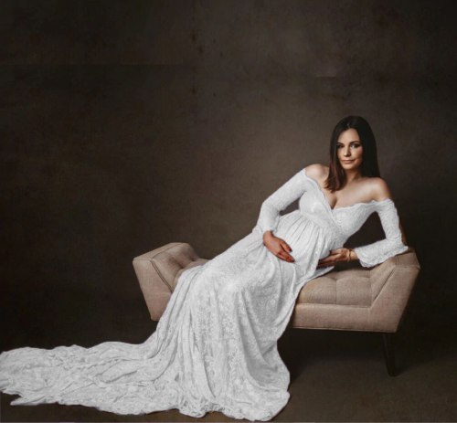 Lace High Waist Pregnancy Dresses Good Texture Photography Props Off-Shoulder Maternity Gowns For Photo Shoot Floral Side Collar