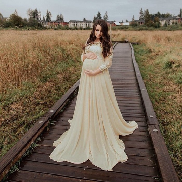 Lace Maternity Maxi Gowns Dresses for Photo Shoot Long Sleeve Chiffon Pregnant Women Baby Shower Pregnancy Dress Photography