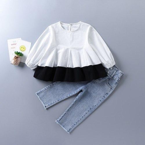 2-7 years high quality girl clothing set 2021 new autumn fashion casual patchwork shirt + denim pant kid children clothing