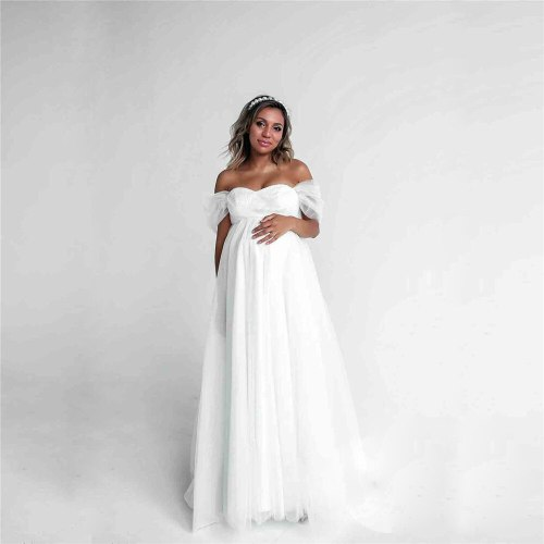 Shoulderless Sexy Lace Maternity Dress Photo Shoot Long Pregnancy Dresses Photography Props Chiffon Maxi Gown For Pregnant Women