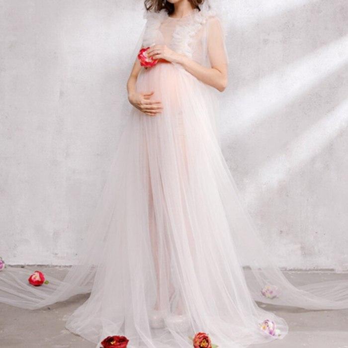 Romantic Elegant Long Fairy Trailing Dress Pregnancy Maternity Pregnant Dress Women Fashion Maternity Photography Props Clothes