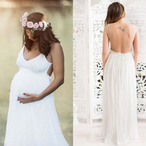 Sexy Maternity Dress For Photography Pregnancy Photo Shoot Sundress Summer Beach Backless Long Gown Baby Shower Dresses Vestidos