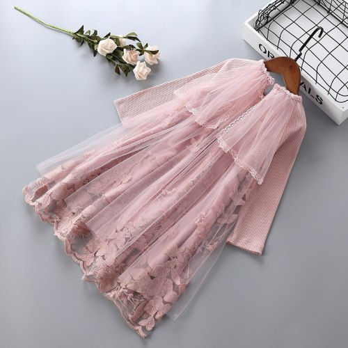 1-7 years High quality girl dress 2021 new fashion lace mesh flower kid children clothing girls party formal princess dress
