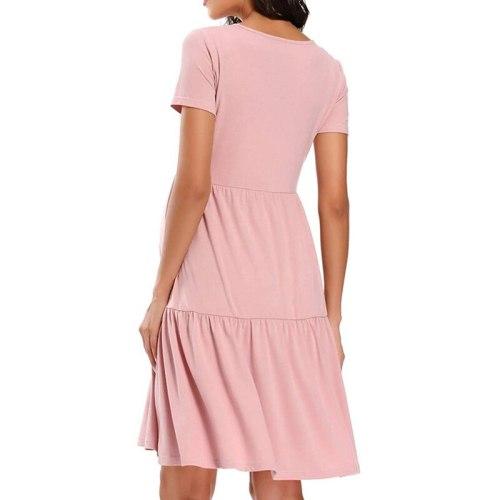 2021 Summer Casual Dress High Waist Pleated Women Short Sleeve Maternity Dress V-Neck Elegant Tunic Dress Pregnancy Clothes