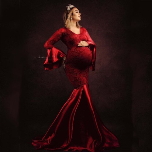 2021 Maternity Photo Shoot Outfit Lace and Silk Maternity Dresses For Photography Props Pregnnacy Long Dress For Photo Shoot