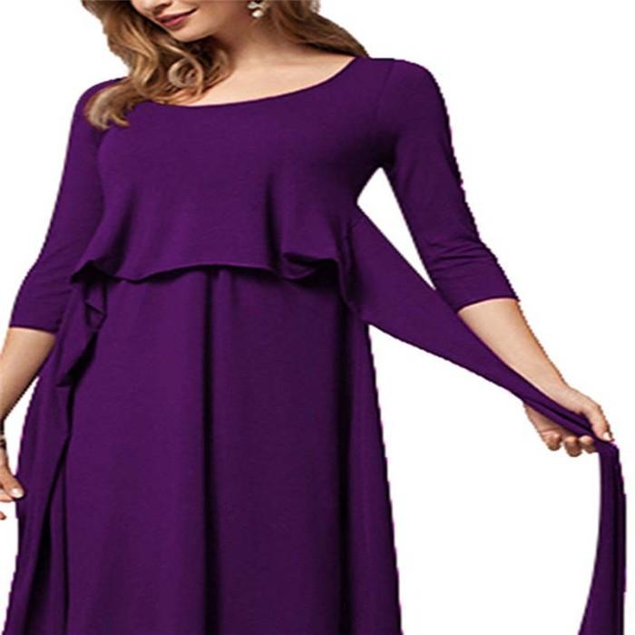 Long Sleeve Loose Pregnant Women Nursing Tops Dress O-neck Casual Maternity Dresses Nursing Breastfeeding Clothes