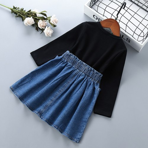 2-6 years High quality girl dress 2021 new spring autumn stripe patchwork demin kid children clothing girls party princess dress