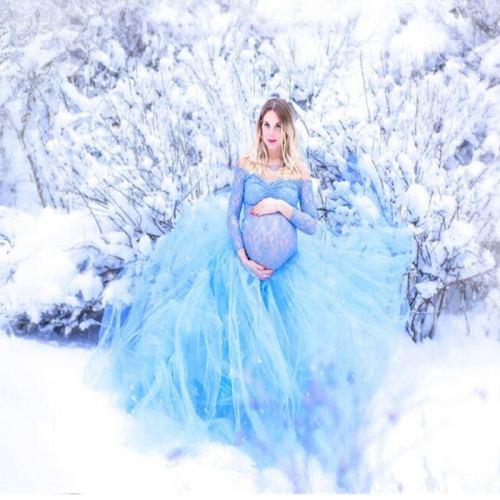 Light Blue Long Maternity Dress Mermaid Style Baby Shower Maternity Gown Photoshoot Lace Bathrobe Nightwear Pregnancy Dresses