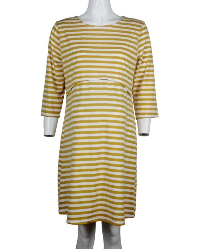 Hot Sale Striped Half Sleeve Maternity Nursing Dress Pajamas Maternity Home Wear