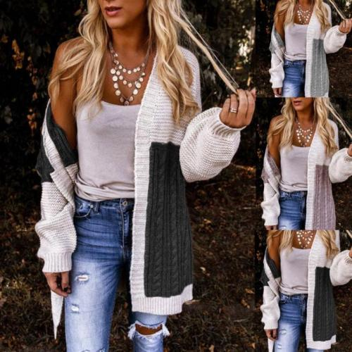 2021 New Knitted Long Cardigan Color Contrast Lantern Sleeve Sweater Coat Autumn Winter Daily Patchwork Female Casual Cardigans