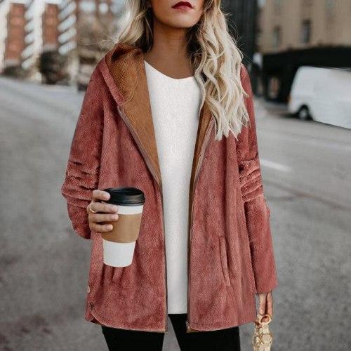 2021 Winter Women's Plush Jacket Fashion Casual Hooded Warm Long-sleeved Cotton Jacket Plus Size