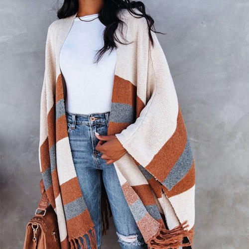 Women's Fashion Street Acrylic Knit Cardigan Large Size Casual Tassel Sweater Hot Sale in Autumn and Winter 2021 Pull Femme