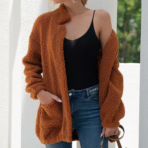 Fleece Coat Fashion Women Fleece Jacket Two Pockets Autumn Winter Stand Collar Warm Cardigan Jacket Outerwear Cold Resistant