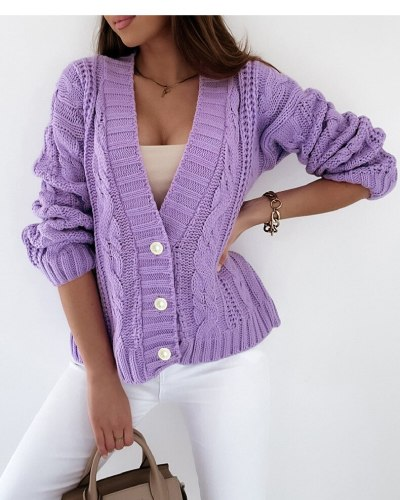Knitted Sweater Womens Autumn Winter 2021 New Thick Thread Twist Button Cardigan Sweater Long Sleeve Solid White Ladies Tops