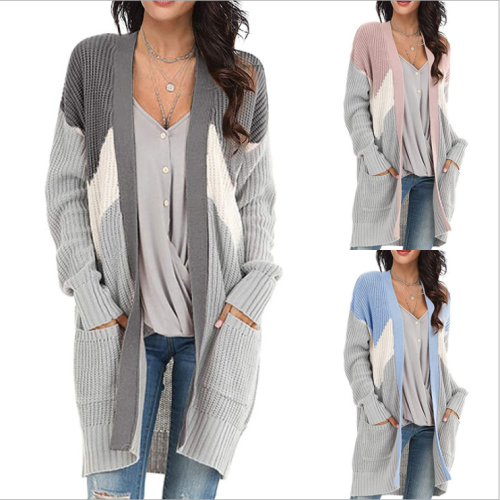 Knitted Cardigan V Neck Geometric Colorblock Cardigan Women Long Sleeve Pocket Sweater Long Knitwear