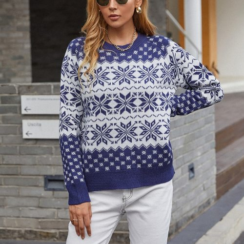 Autumn Winter Women Sweater Pullover 2021 O-Neck Loose Thick Chirstmas Printing Sweater Coat For female