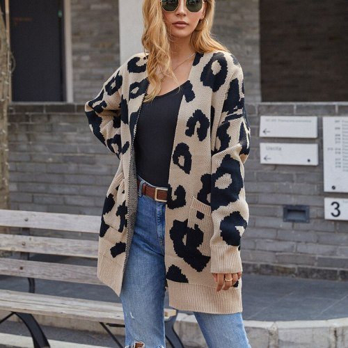 Sexy Leopard Print Women Cardigan  2021 Fall/Winter New Long Long Sleeve Pocket  Knitted Cardigan Multicolor Sweater