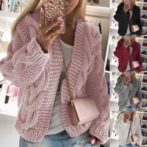 Vintage Twist Cardigan Women Sweater Knitwear 2020 Autumn Winter Open Stitch Top Solid Slim Long Sleeve Cardigans