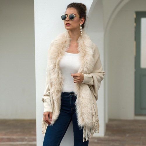 Autumn Winter Women Fashion Tassel Cloak Shawl Fur Collar Cardigan Sweater Soft Warm Capes Solid Color Cloak Sweaters