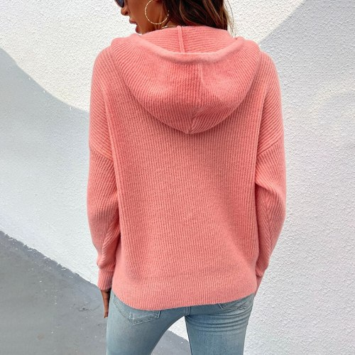Street Warm soft Knit Casual Sweaters autumn winter new pullovers women's solid color hooded pocket knitted sweaters jacket