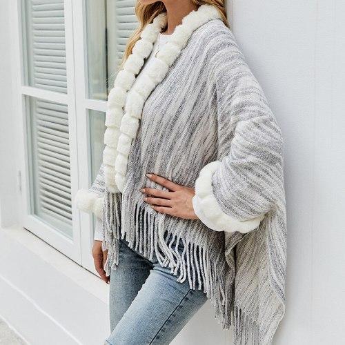 Women Clothing Sweater Autumn Winter 2021 New Knitwear Europe Tassel Cloak Shawl Female Fur Collar Cardigan Coat